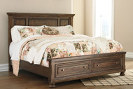 Flynnter Medium Brown King Panel Bed with Storage