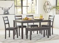 Bridson Gray Rectangular Table Set (6/CN)