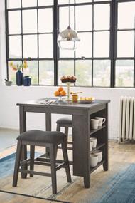 Caitbrook Gray Rectangular Counter Table Set(3/CN)