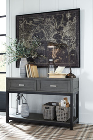 Caitbrook Gray/Black Sofa Table