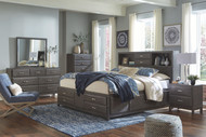 Caitbrook Gray 7 Pc. Dresser, Mirror, California King Storage Bed & 2 Nightstands