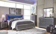 Lodanna Gray 5 Pc. Dresser, Mirror, Chest & King Upholstered Panel HDBD with Bolt on Bed Frame