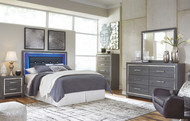 Lodanna Gray 4 Pc. Dresser, Mirror & Queen Upholstered Panel HDBD with Bolt on Bed Frame