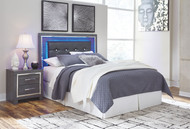 Lodanna Gray Queen Upholstered Panel HDBD with Bolt on Bed Frame
