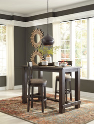 Drewing Brown 3 Pc. Rectangular Bar Table & 2 Tall Upholstered Swivel Barstools
