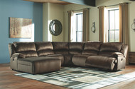 Clonmel Chocolate LAF Press Back Chaise, Armless Chair, Wedge, Armless Recliner & RAF Zero Wall Recliner Sectional