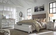 Kanwyn Whitewash 5 Pc. Dresser, Mirror & Queen UPH Storage Bed