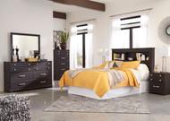 Reylow Dark Brown 5 Pc. Dresser, Mirror, Chest & Queen Bookcase Headboard with Bolt on Bed Frame