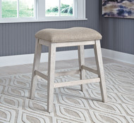 Skempton White/Light Brown Upholstered Stool