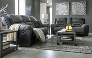 Earhart Slate Reclining Sofa & Double Reclining Loveseat with Console