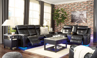Kempten Black Reclining Sofa, Double Reclining Loveseat with Console & Rocker Recliner