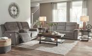 Mouttrie Smoke Power Reclining Sofa with ADJ HDRST & Power Reclining Loveseat with CON/ADJ HDRST
