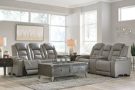 The Man-Den Gray Power Reclining Sofa with ADJ HDRST & Power Reclining Loveseat/CON/ADJ HDRST