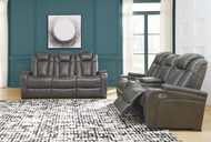 Turbulance Quarry Power Reclining Sofa with ADJ HDRST & Power Reclining Loveseat with CON/ADJ HDRST