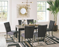 Dontally Two-tone 7 Pc. Rectangular  Table & 6 Upholstered Side Chairs