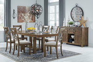 Moriville Grayish Brown 8 Pc. Rectangular  Extension Table, 6 Upholstered Side Chairs &  Server