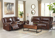 Catanzaro Mahogany 2 Seat Power Reclining Sofa ADJ HDRST & Power Reclining Loveseat/CON/ADJ HDRST