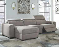 Mabton Gray LAF Press Back Power Chaise, Armless Chair & RAF Zero Wall Power Recliner Sectional