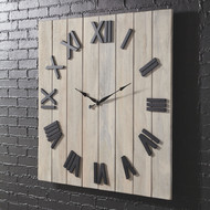 Bronson Whitewash/Black Wall Clock