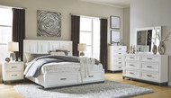 Brynburg White 5 Pc. Dresser, Mirror & King Panel Bed with 2 Storage Drawers