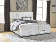 Brynburg White King Panel Bed with 2 Storage Drawers