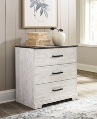 Shawburn White/Dark Charcoal Gray Three Drawer Chest