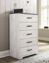 Shawburn White/Dark Charcoal Gray Five Drawer Chest