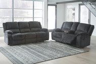 Draycoll Slate Reclining Sofa & Double Reclining Loveseat with Console