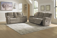Draycoll Pewter Reclining Sofa & Double Reclining Loveseat with Console