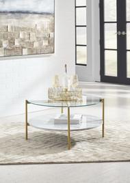 Wynora White/Gold Round Cocktail Table