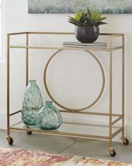 Jackford Antique Gold Finish Bar Cart