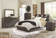 Vay Bay Charcoal 5 Pc. Dresser, Mirror & King Bookcase Panel Bed