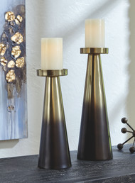 Theseus Gold Finish/Brown Candle Holder Set (2/CN)