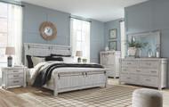 Brashland White 6 Pc. Dresser, Mirror, Chest & King Panel Bed