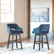 Tallenger Blue/Dark Brown Tall Upholstered Swivel Barstool