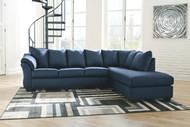 Darcy Blue LAF Sofa & RAF Corner Chaise Sectional