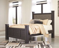 Reylow Dark Brown King Upholstered Poster Bed