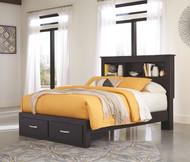 Reylow Dark Brown King Bookcase Bed with 2 Storage Drawers