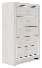 Altyra White Five Drawer Chest