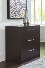 Flannia Black Three Drawer Chest