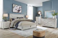 Brashland White 5 Pc. Dresser, Mirror, Queen Panel Bed with Bench Footboard