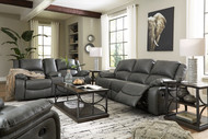 Calderwell Gray 3 Pc. Reclining Sofa, Double Reclining Loveseat with Console, Rocker Recliner