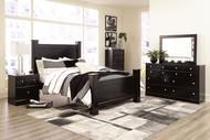 Mirlotown Almost Black 9 Pc. Dresser, Mirror, Chest, Queen Poster Bed, 2 Nightstands