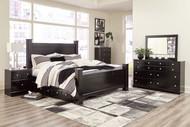 Mirlotown Almost Black 9 Pc. Dresser, Mirror, Queen Poster Bed with Storage, 2 Nightstands