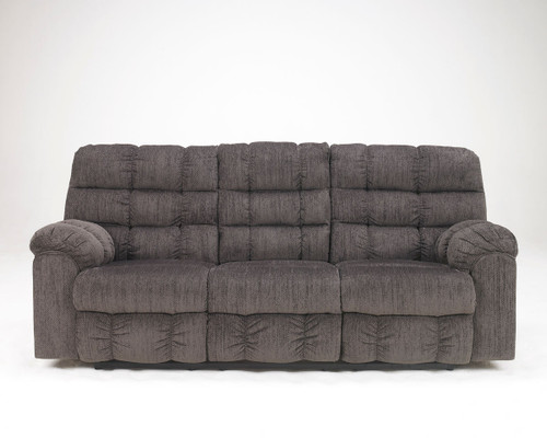 The Acieona Slate Reclining Sofa With Drop Down Table Sold