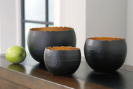 Claudine Black/Gold Finish Bowl Set