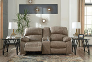Dunwell Driftwood Power Reclining Loveseat with Console and Adjustable HDRST