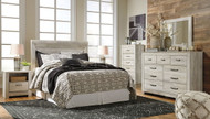 Bellaby Whitewash 4 Pc. Dresser, Mirror, Chest & Queen Panel Headboard Bed