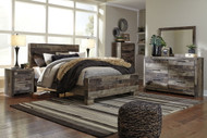 Derekson Multi Gray King Panel Bed