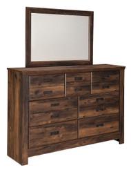 Quinden Dark Brown Dresser & Mirror